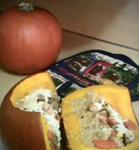 Cheesy Quinoa Bison Baked Pumpkin